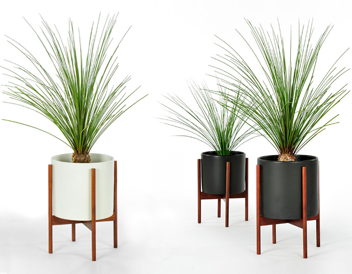 case study cylinder planter with stand modernica